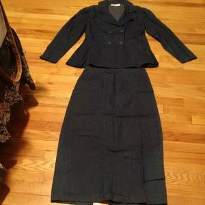 Vintage Women's Jean suit jacket and skirt